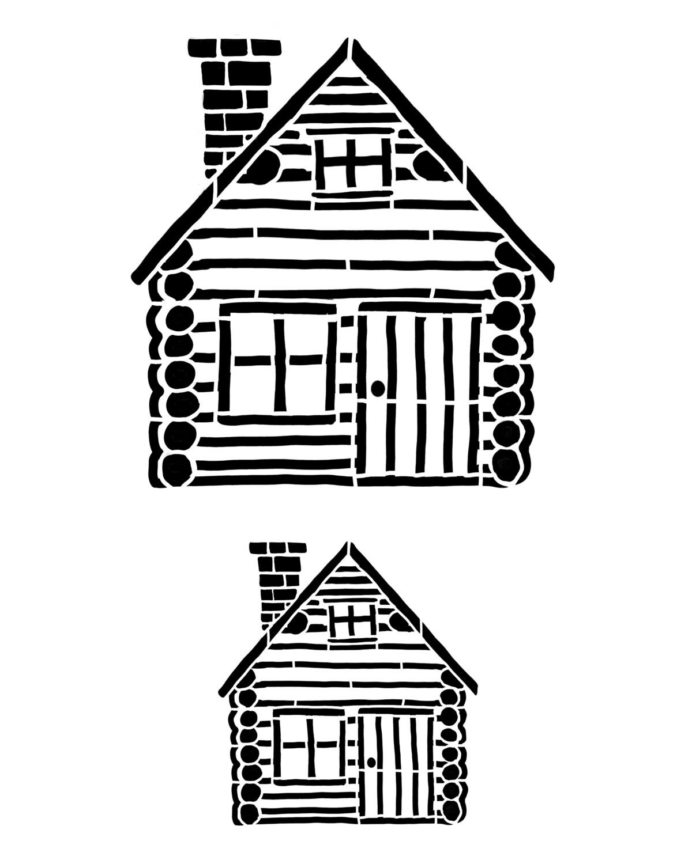 Log cabin duo stencil 8x10