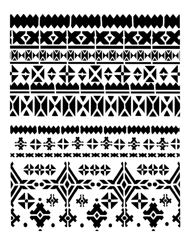 Nordic pattern stencil 8x10