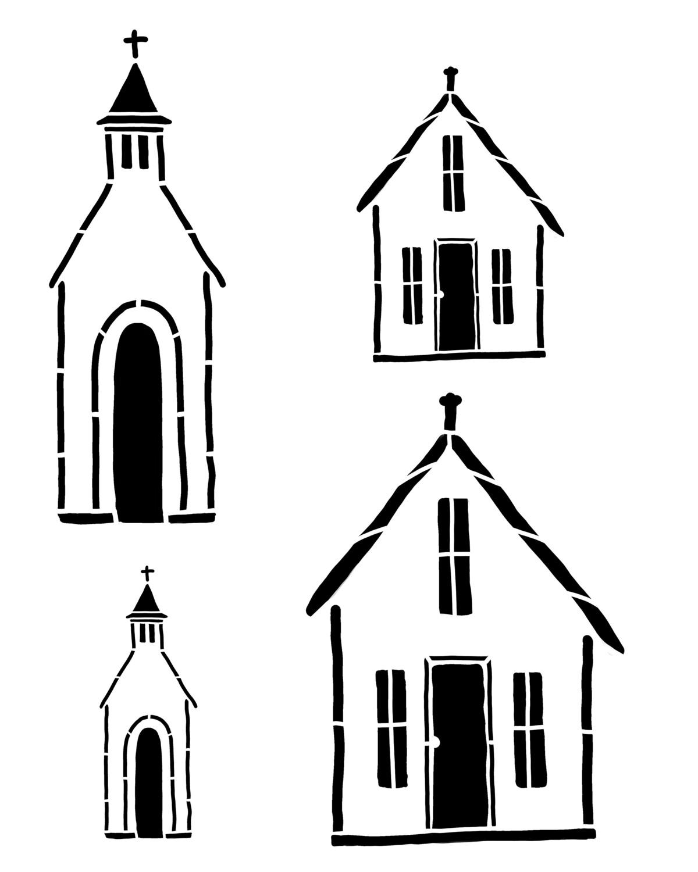 Rustic Churches stencil 8x10