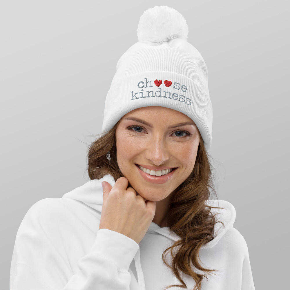 Choose Kindness gray Pom pom beanie