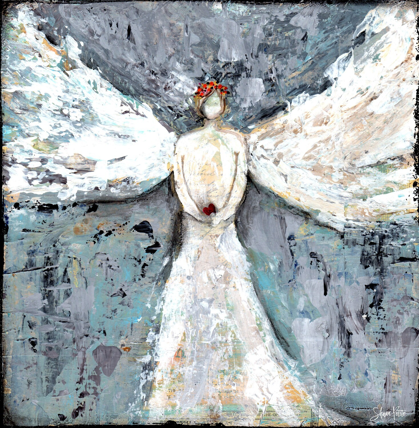"""""""Angel Guiding"""" Print on Wood 4x4 Overstock"""