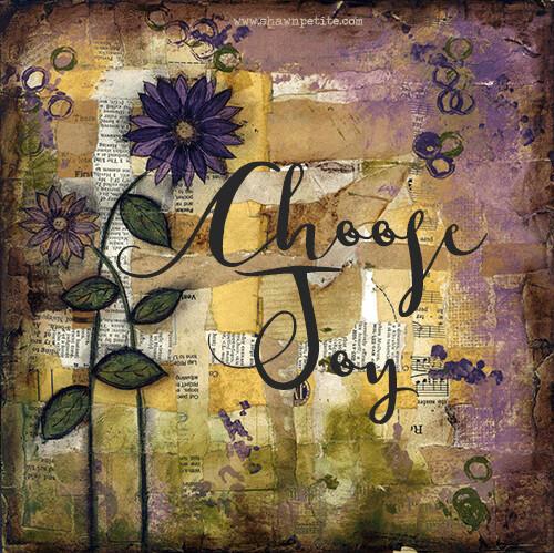 """Choose Joy "" flower Print on Wood 4x4 Overstock"