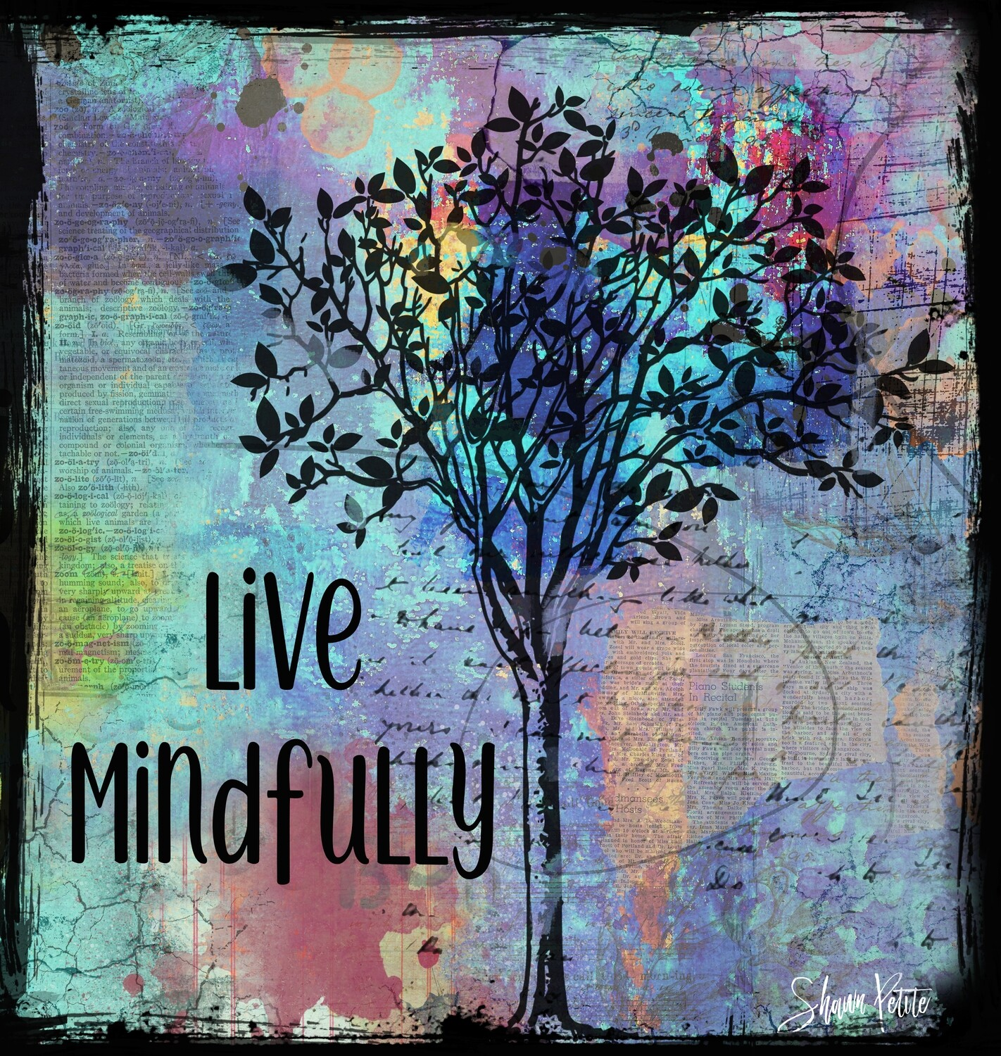 """""""Live Mindfully"""" Print on Wood 4x4 Overstock"""