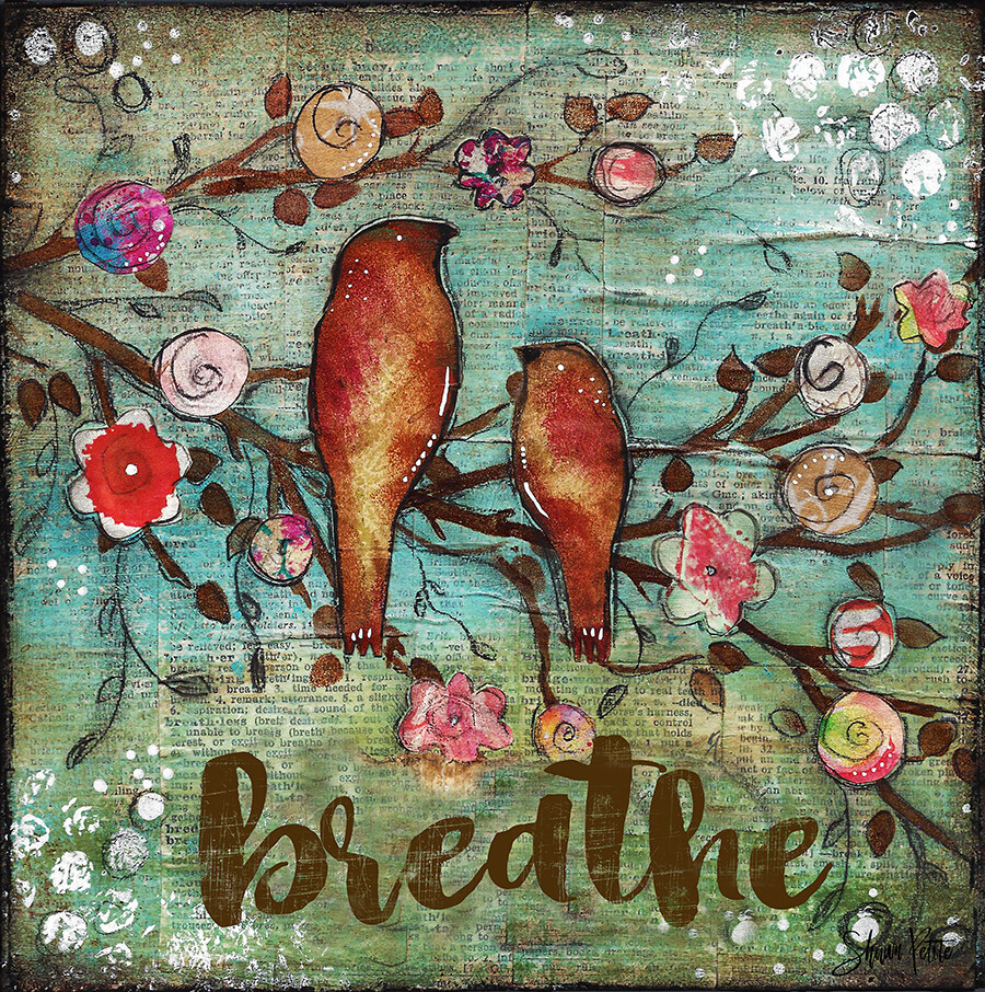 """Breathe"" Print on Wood 4x4 Overstock"