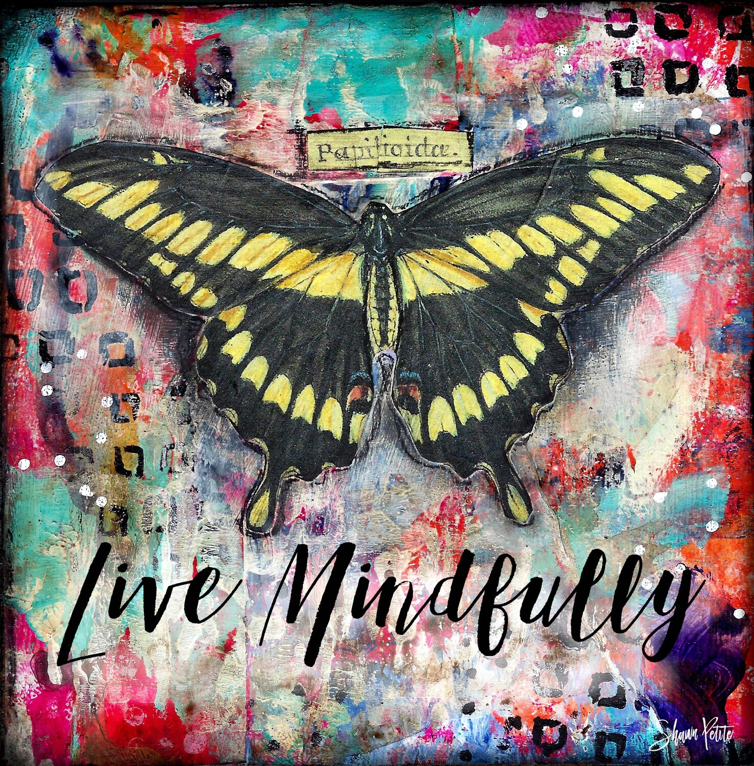 """Live Mindfully"" butterfly Print on Wood 4x4 Overstock"
