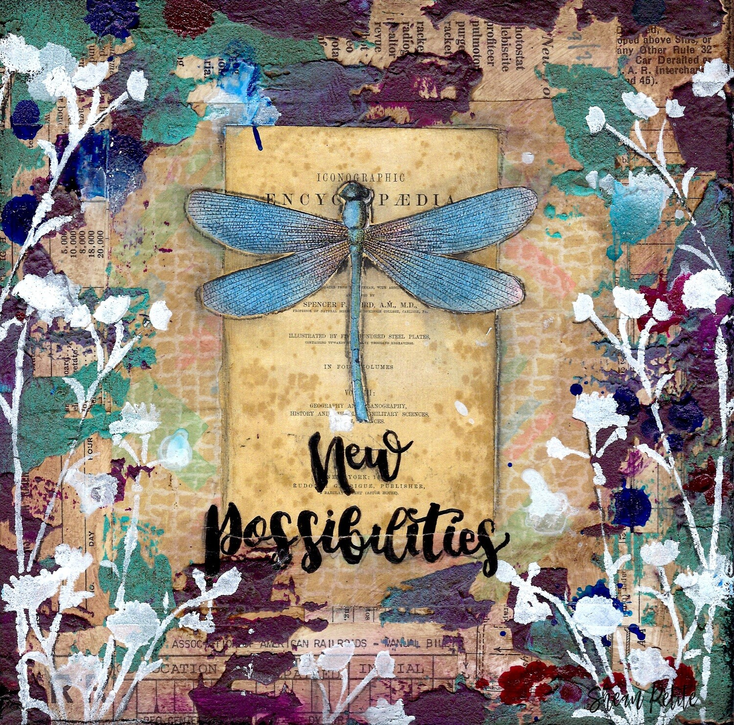 """New Possibilities"" dragonfly Prints on Wood 4x4 Overstock"
