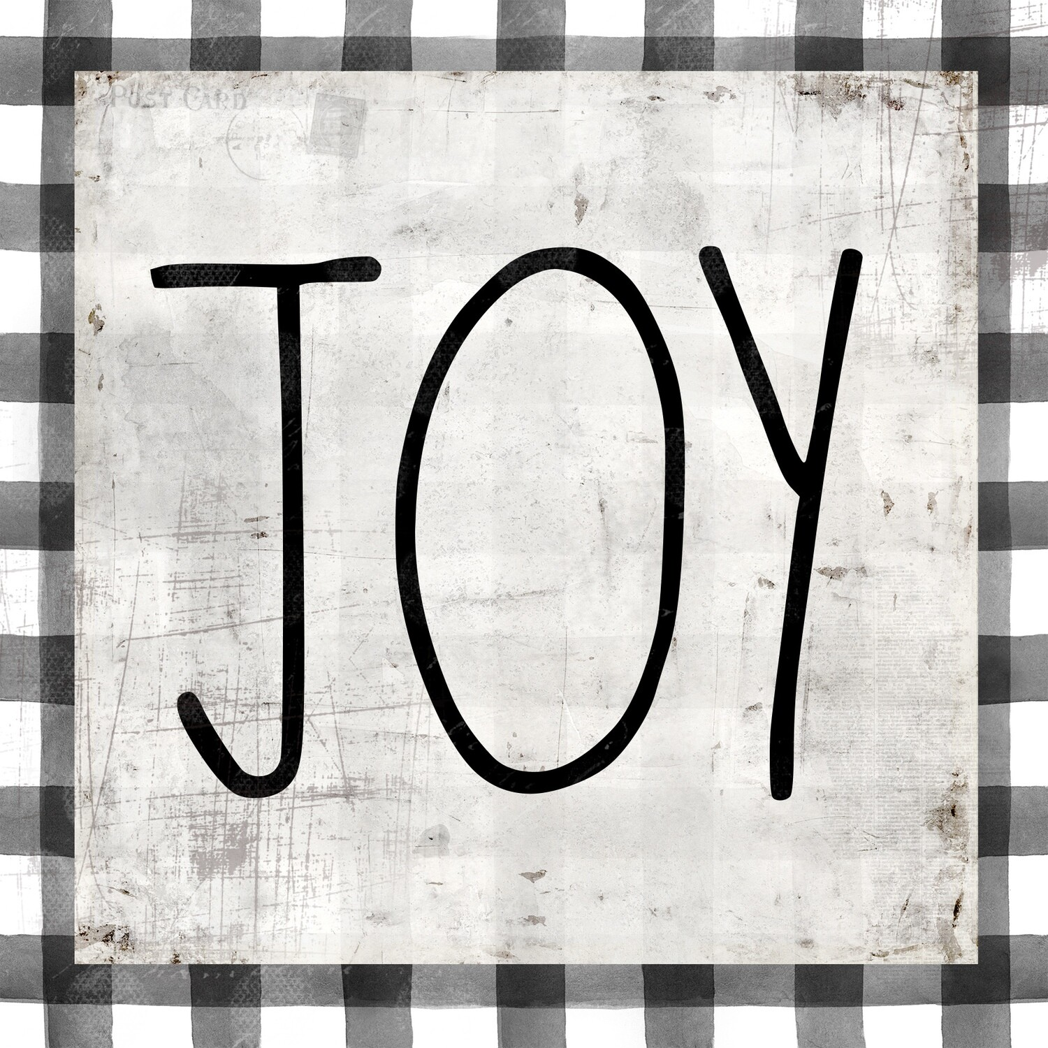 """Joy"" black and white gingham Print on Wood 12x12 Overstock"