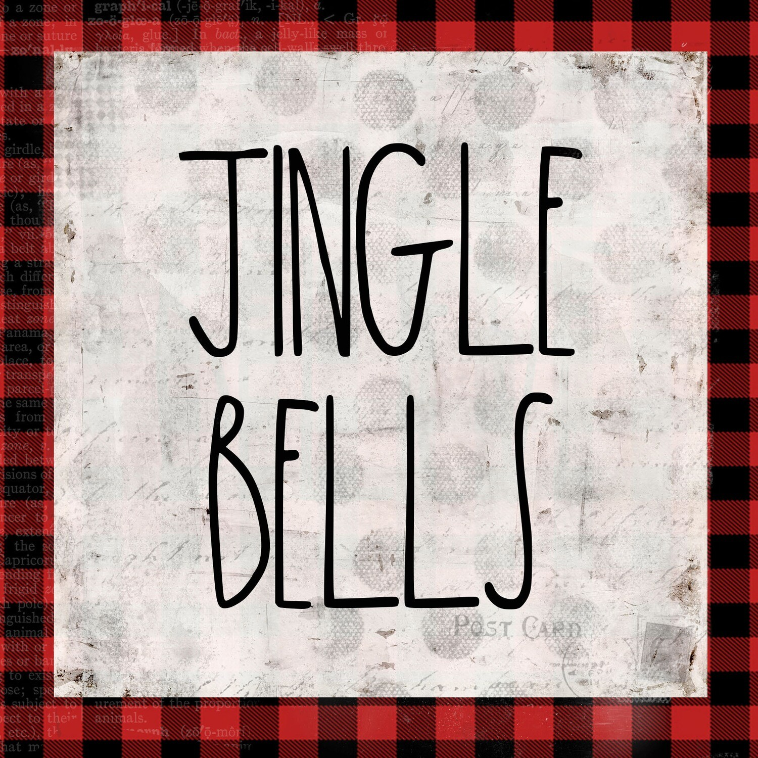 """""""Jingle Bells"""" red and black plaid Print on Wood 6x6 Overstock"""