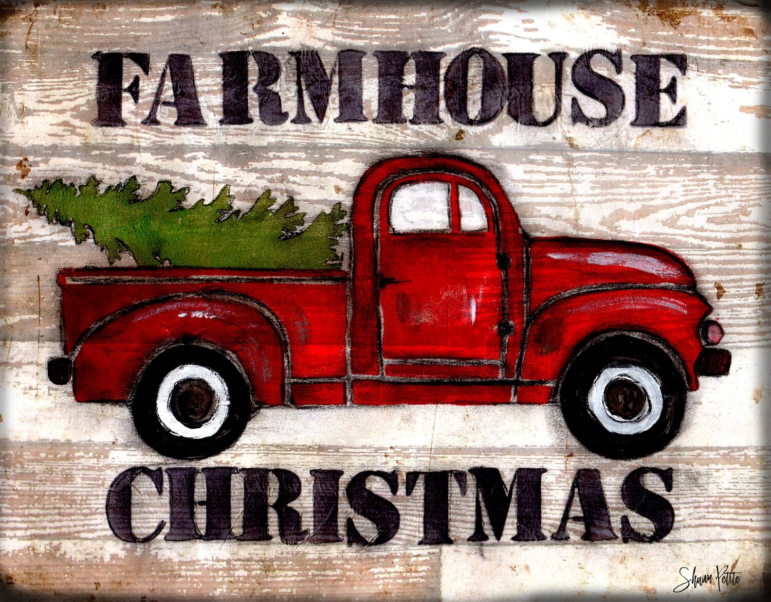 """Farmhouse Christmas"" red truck Print on Wood 7x5 Overstock"