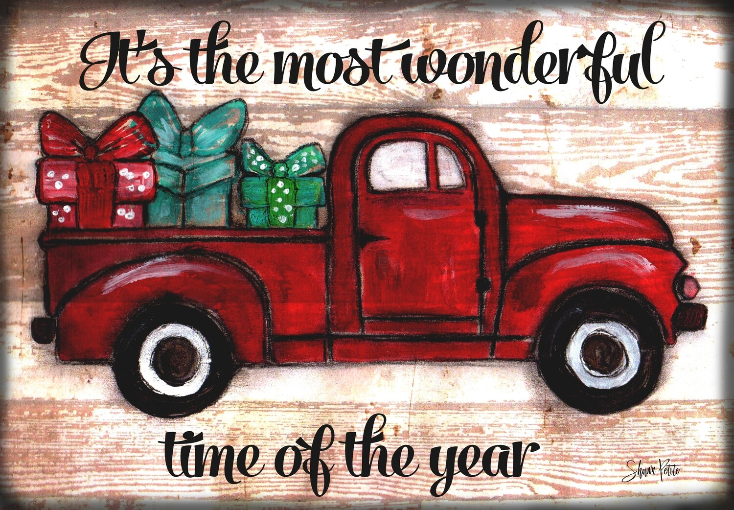 """""""It's the most wonderful time of the year"""" red truck Print on Wood 7x5 Overstock"""