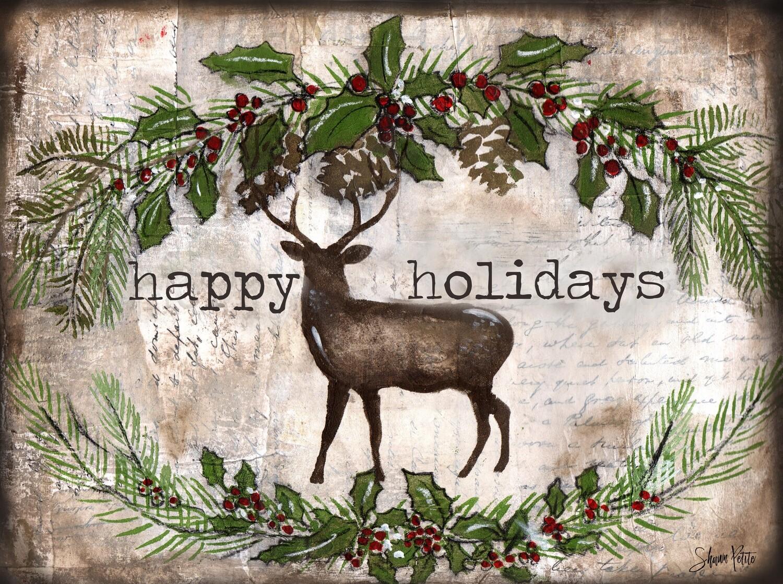 """Happy Holidays"" deer Print on Wood 7x5 Overstock"