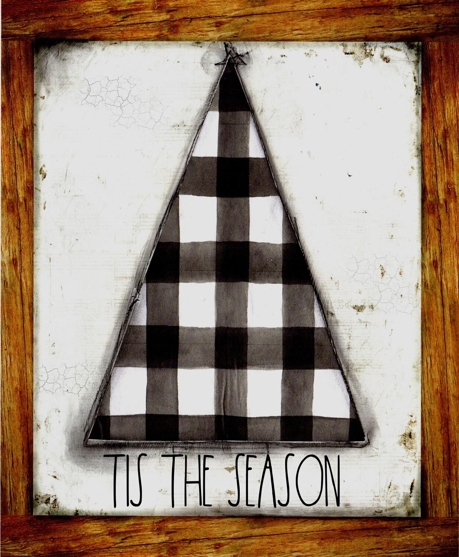 """Tis the Season"" black and white plaid tree Prints on Wood 5x7 Overstock"