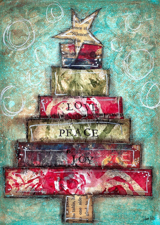 """Love, Peace, Joy Tree"" Print on Wood 5x7 Overstock"