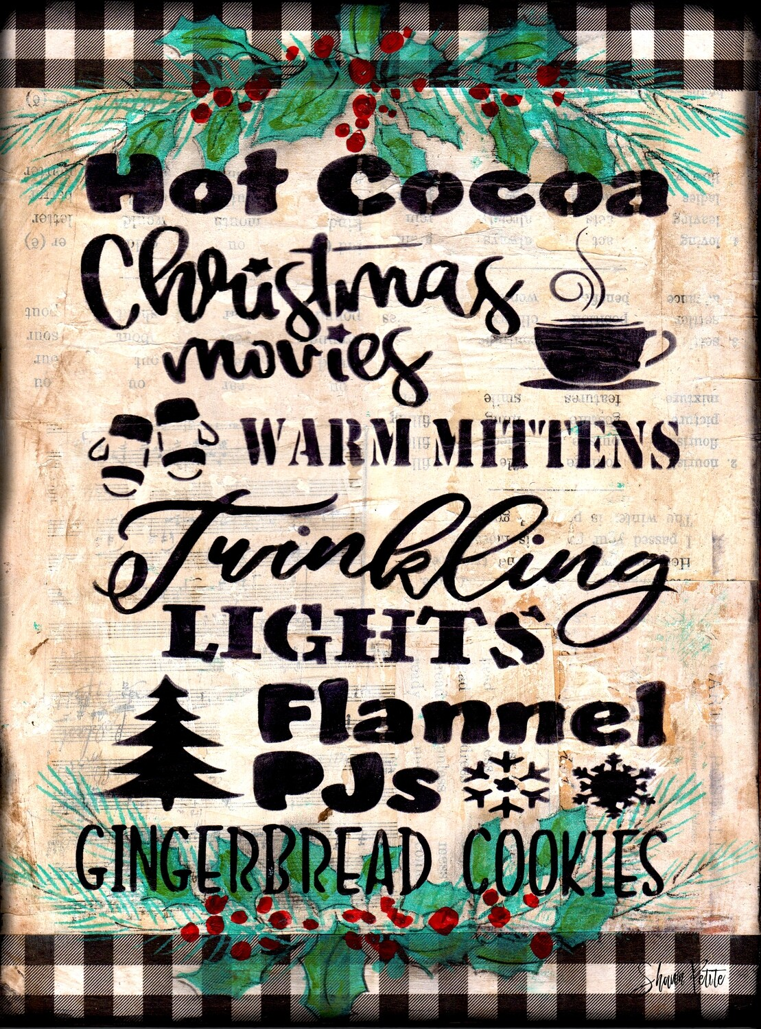"""""""Hot Cocoa"""" Print on Wood 5x7 Overstock"""