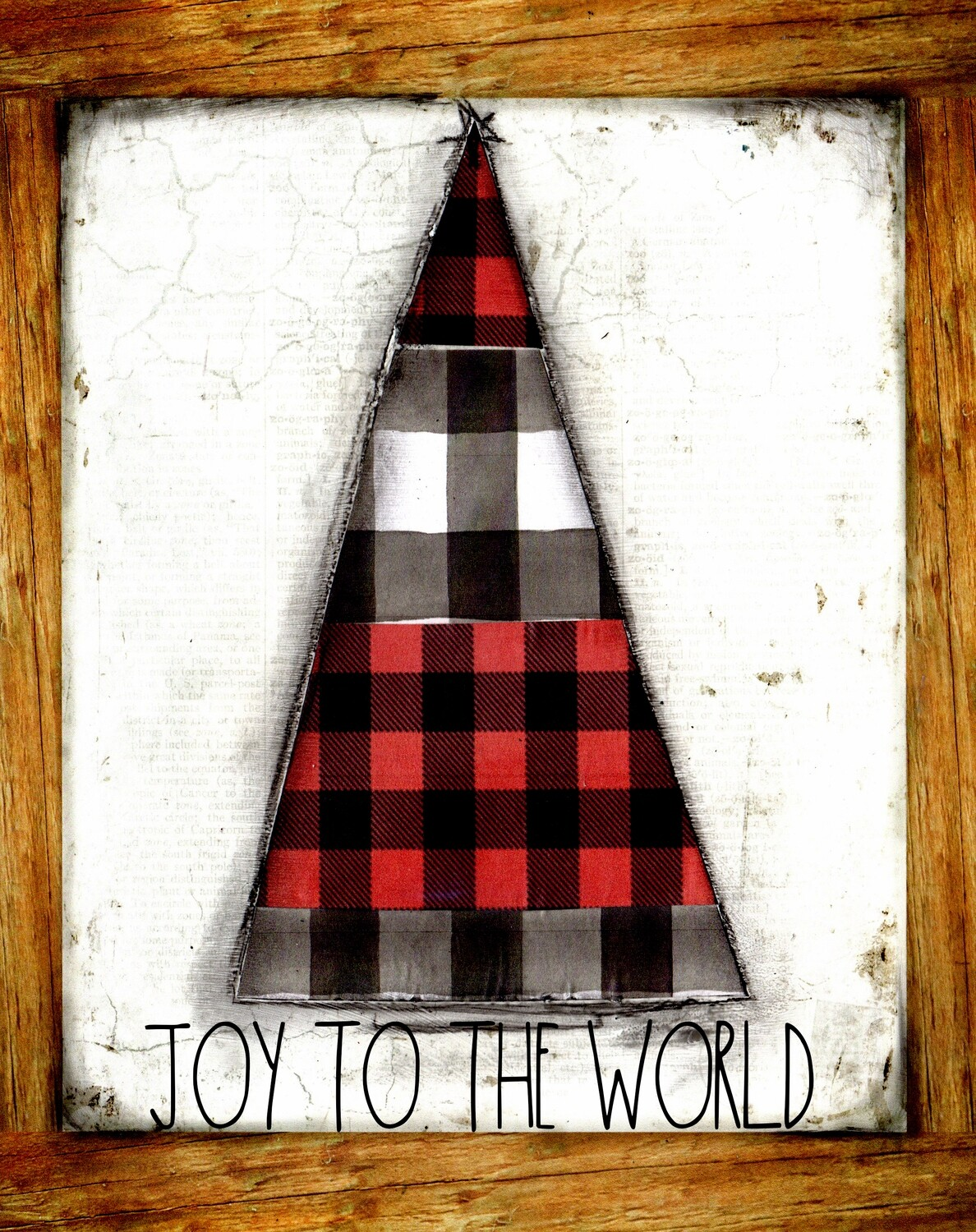 """""""Joy to the world"""" red, black and white plaid tree Print on Wood 5x7 Overstock"""