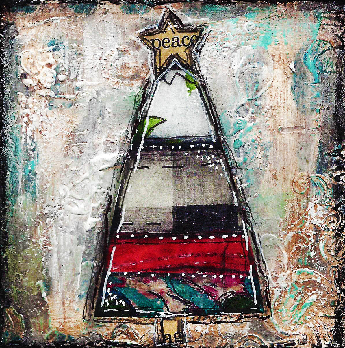 """Christmas tree Peace star""  Print on Wood 4x4 Overstock"
