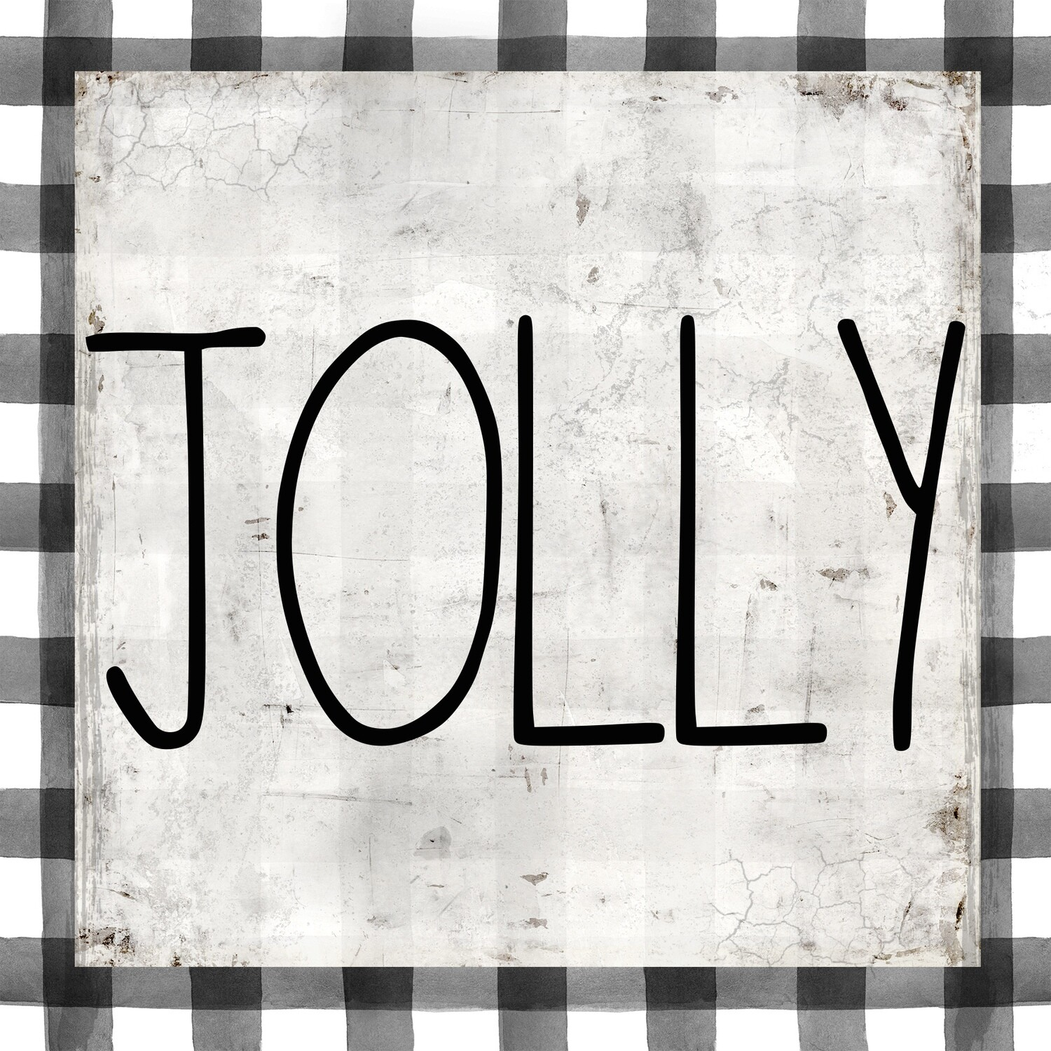 """""""Jolly"""" black and white gingham Print on Wood 4x4 Overstock"""