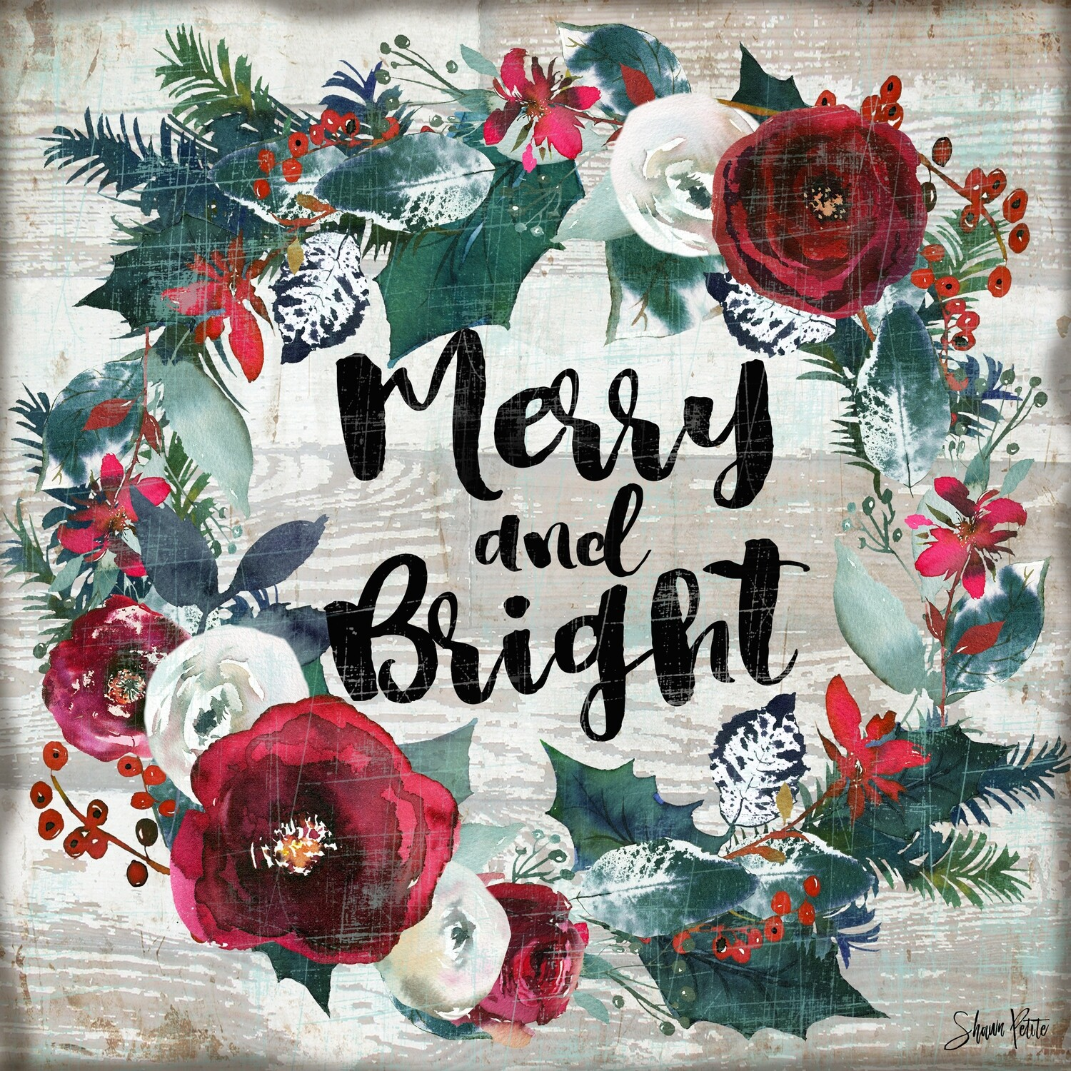 """Merry and Bright"" wreath Print on Wood 4x4 Overstock"