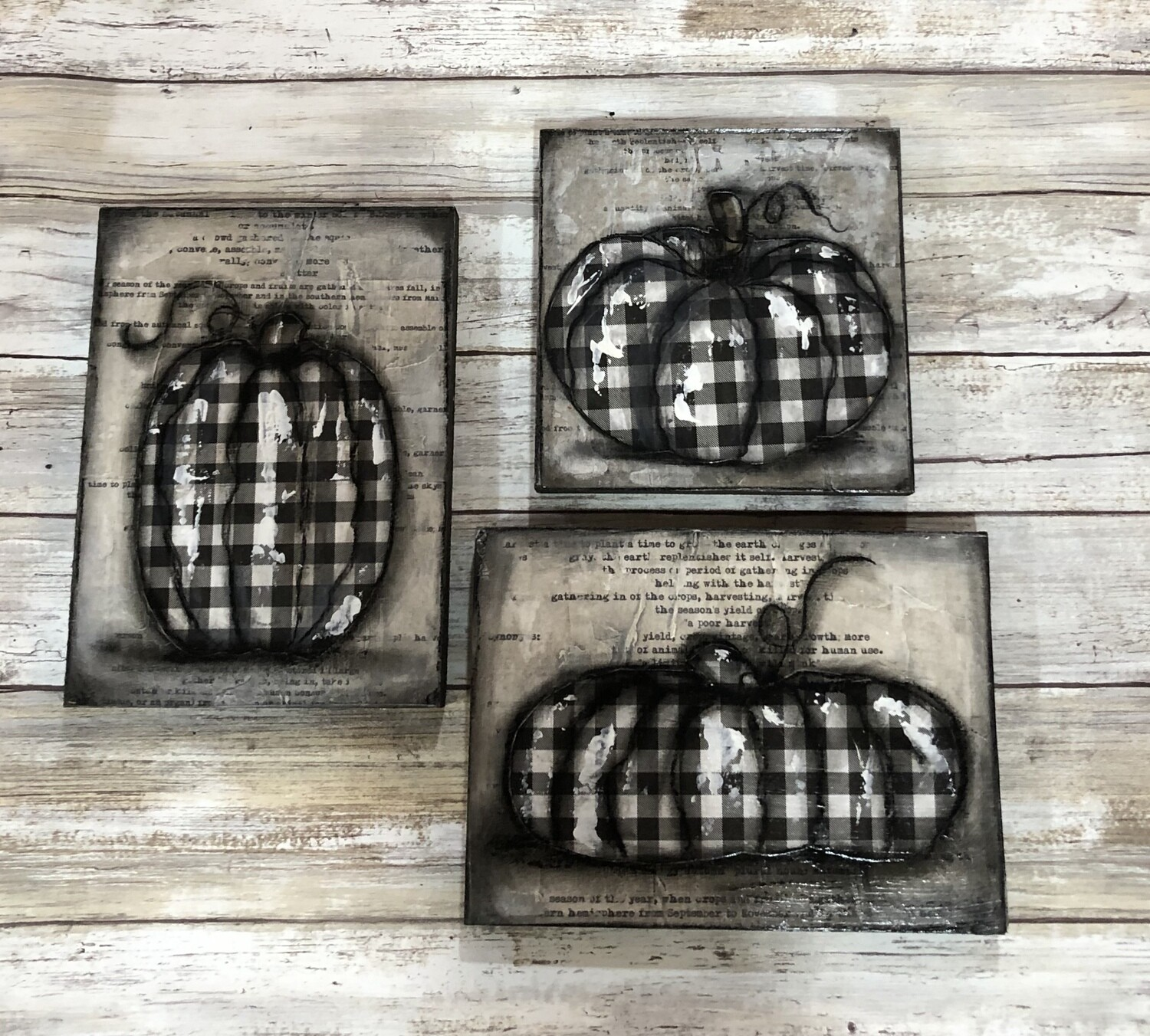 """Pumpkins"" set of 3 1-6x8, 1-8x6, and 1-6x6 clearance mixed media original"