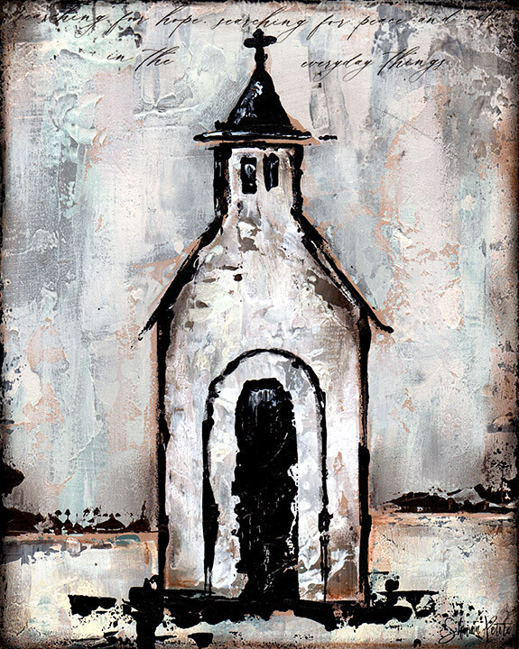"""""""Searching for Peace"""" rustic church Print on Wood and Print to be Framed"""
