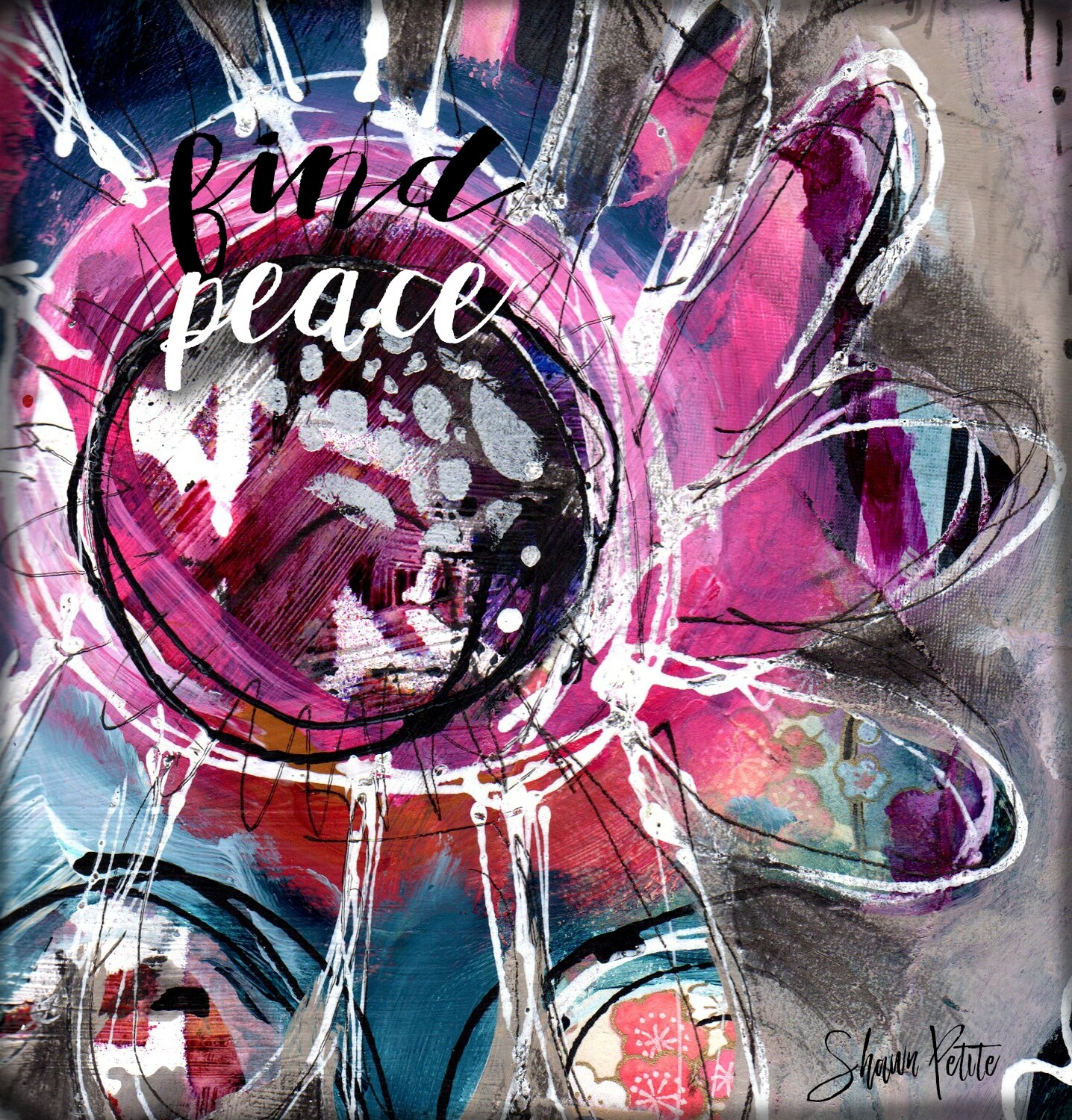 """""""Find Peace"""" flower Print on Wood 4x4 Overstock"""
