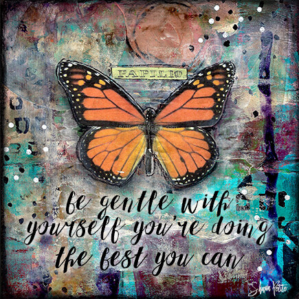 """Be gentle with yourself your doing the best you can"" orange butterfly Print on Wood 4x4 Overstock"