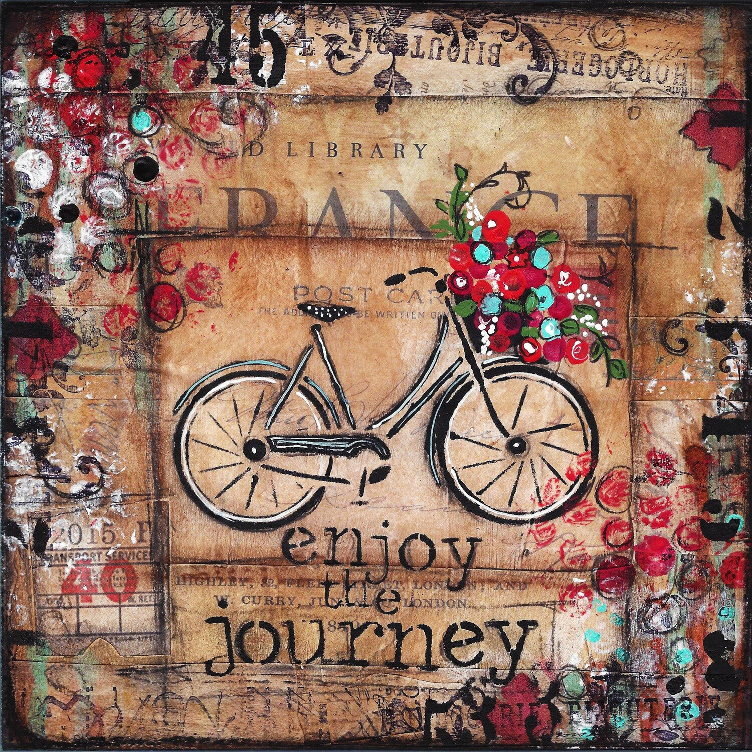"""Enjoy the Journey"" bike Print on Wood 4x4 Overstock"