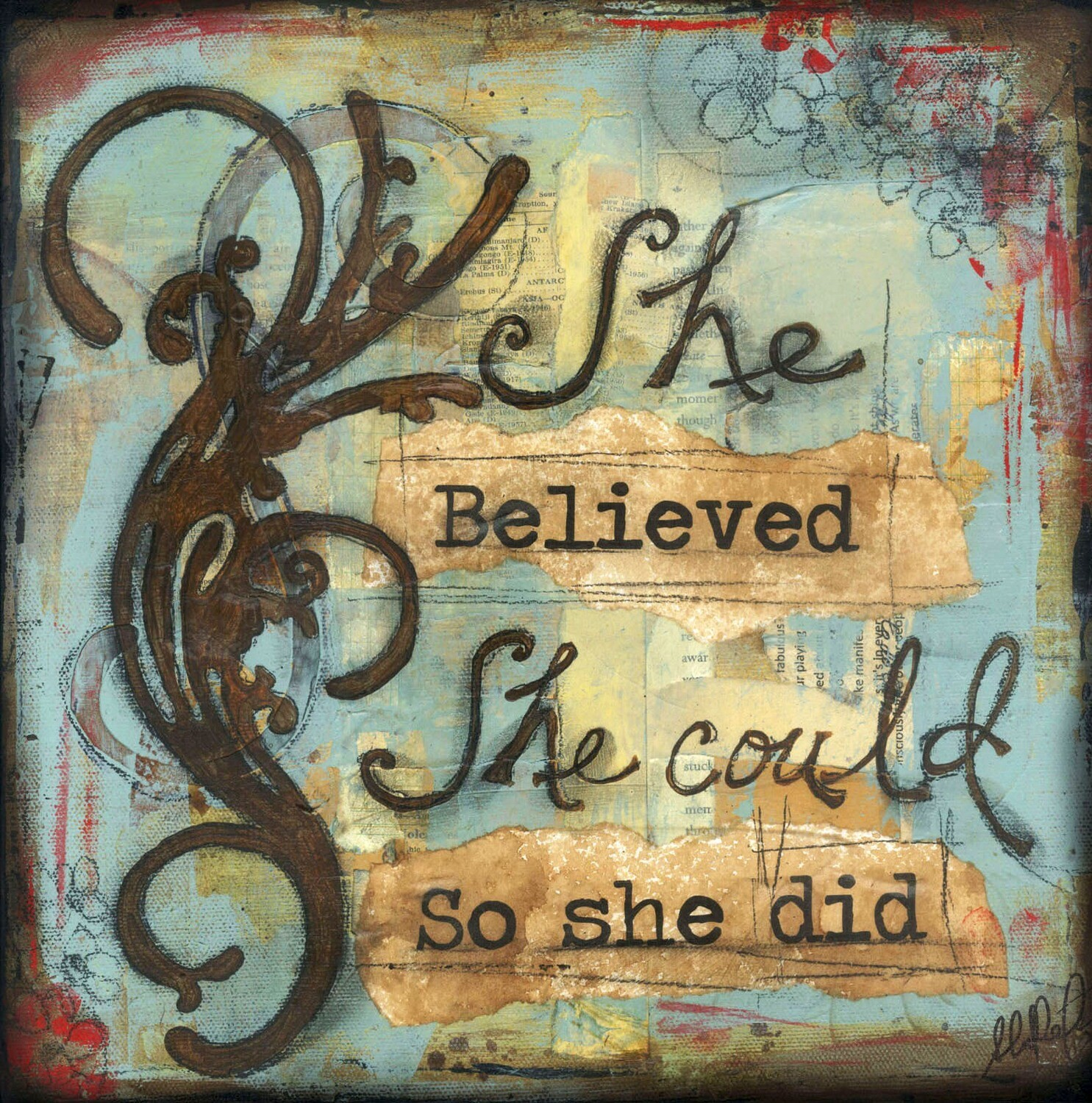 """She believed she could so she did"" Print on Wood 6x6 Overstock"