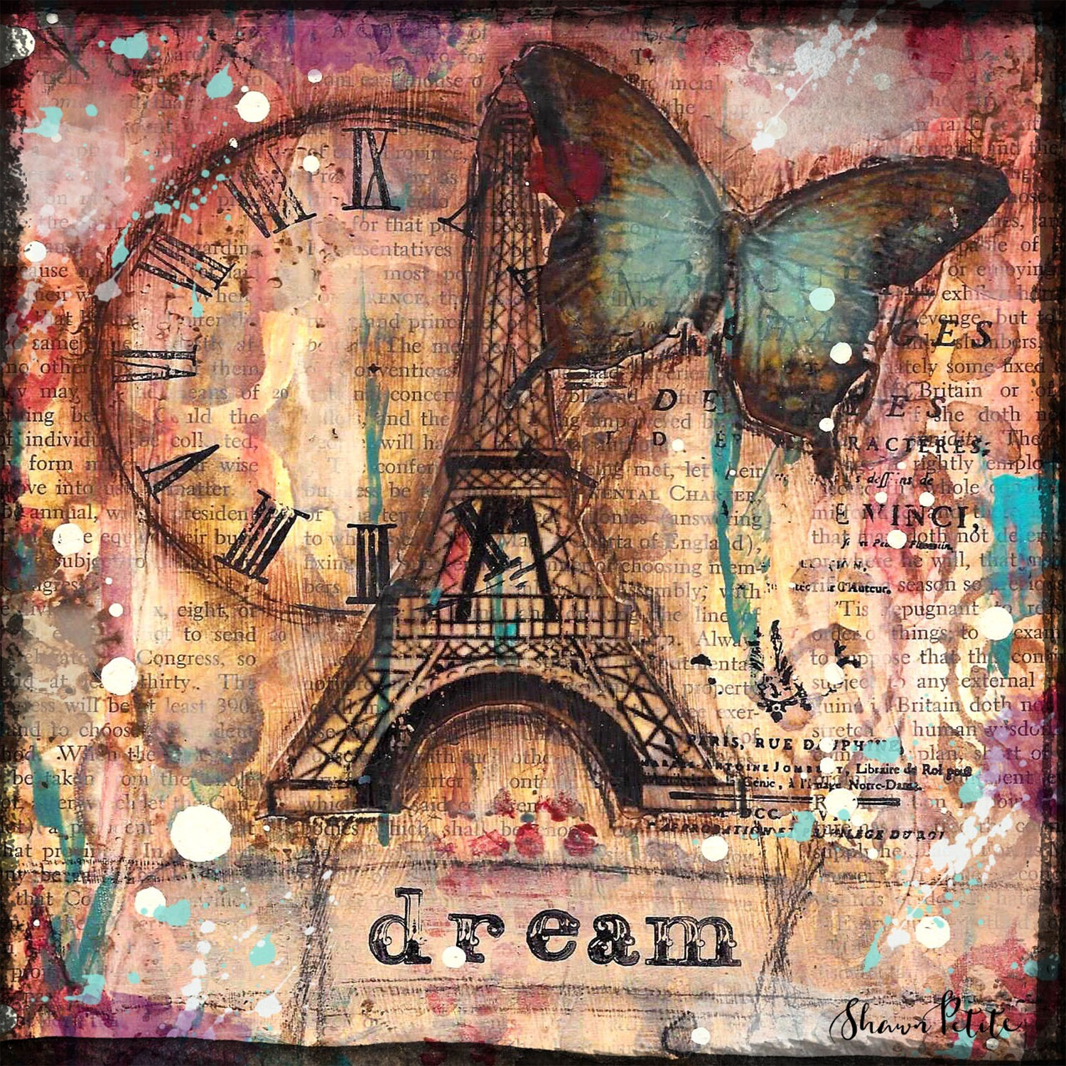 """Dream"" Eiffel Tower Print on Wood 4x4 Overstock"