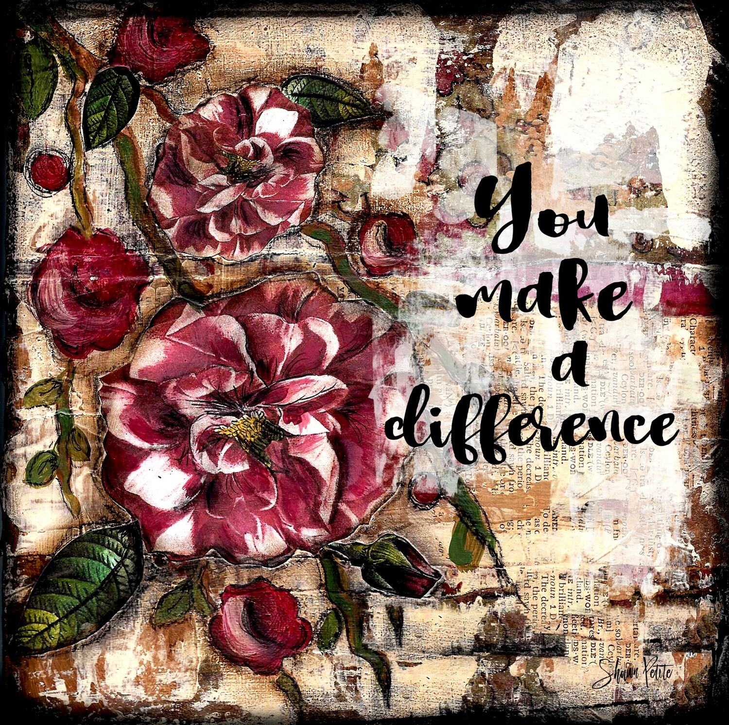 """You make a Difference"" flower Print on Wood 4x4 Overstock"