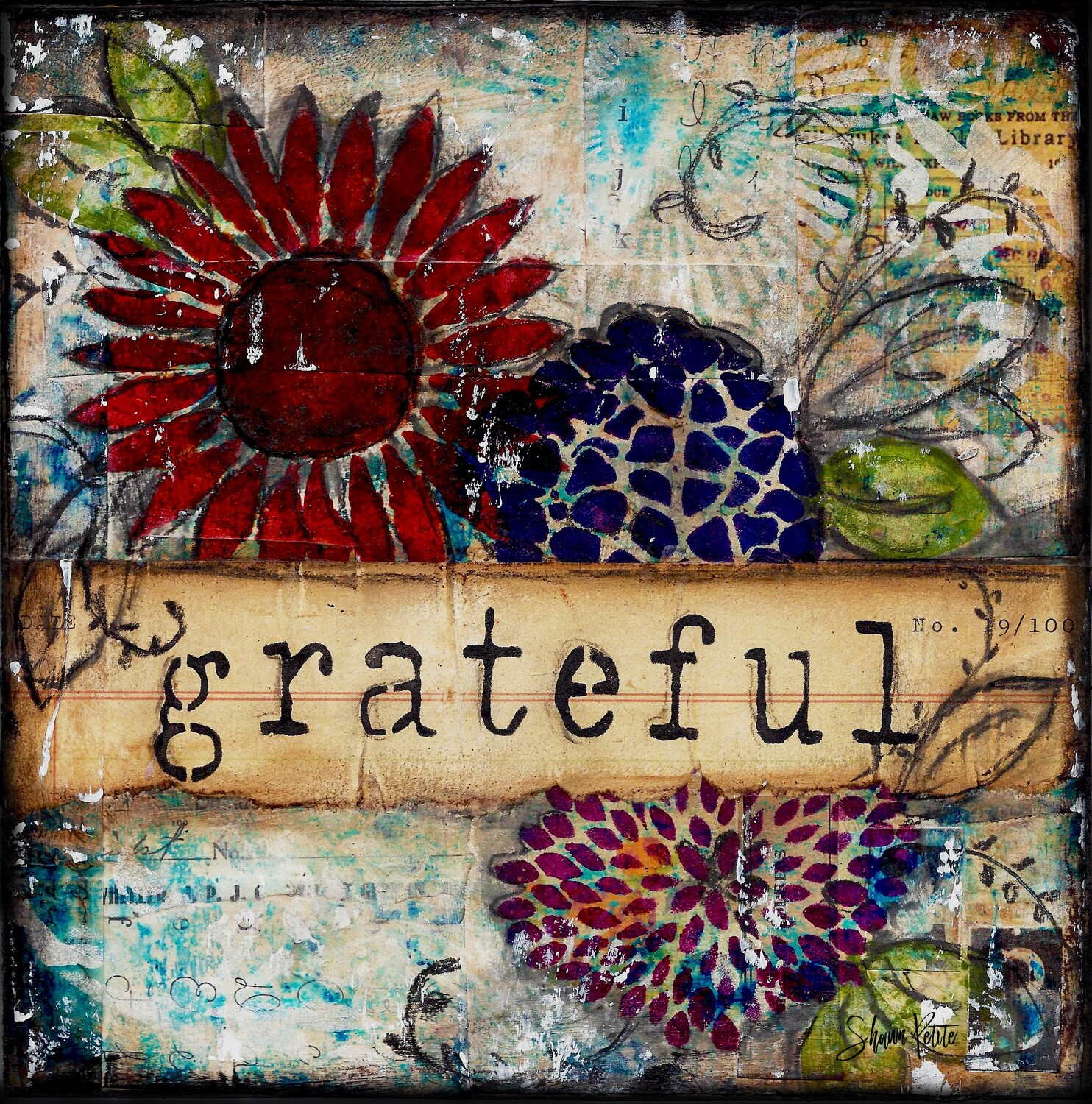 """""""Grateful"""" floral Print on Wood 4x4 Overstock"""