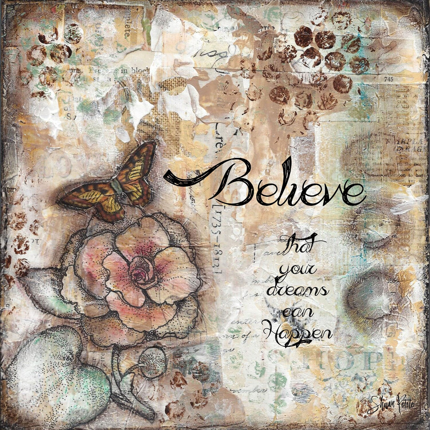 """Believe that your dreams can happen"" butterfly Print on Wood 4x4 Overstock"
