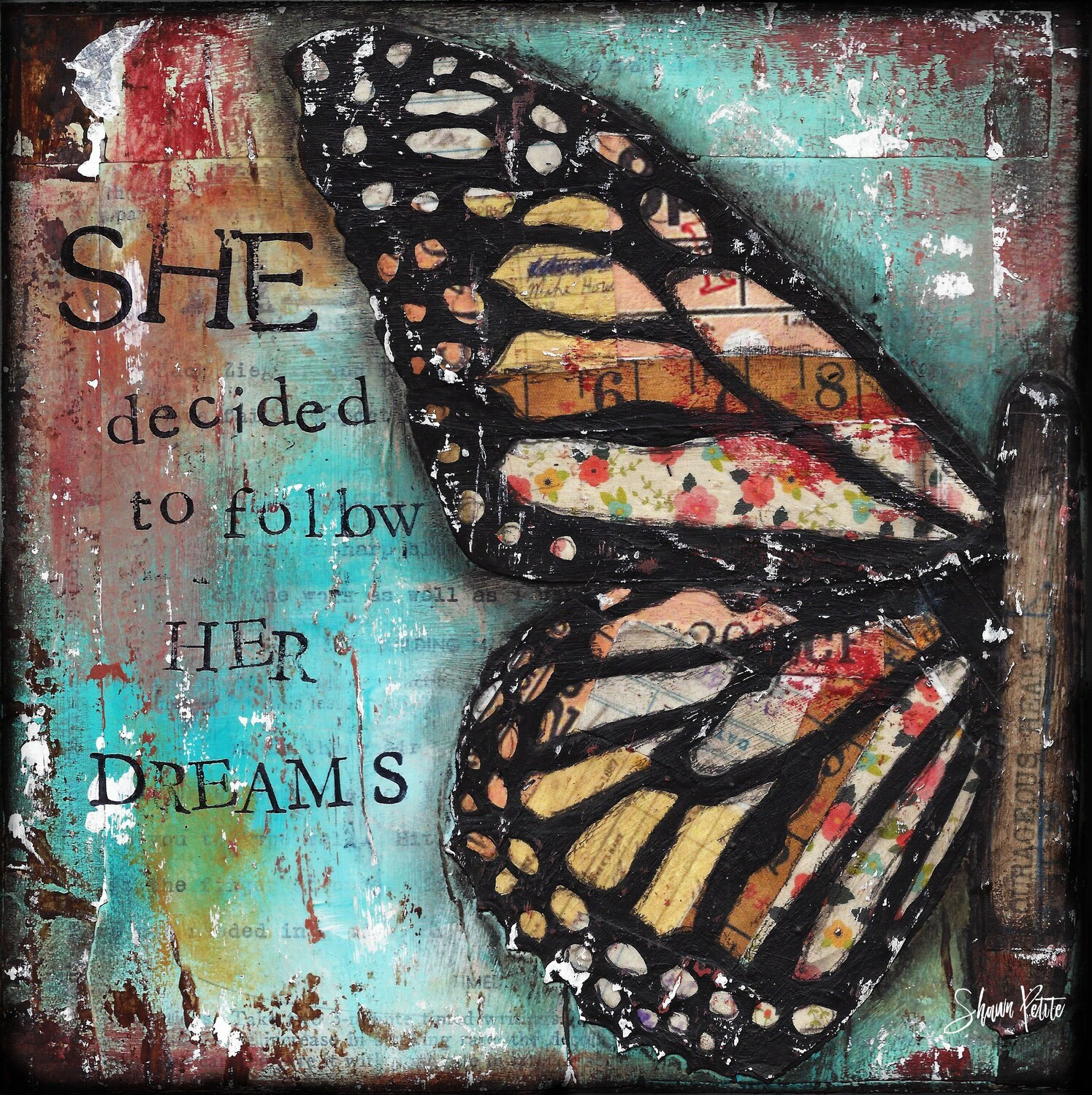 """""""She decided to follow her Dreams"""" butterfly Print on Wood 6x6 Overstock"""