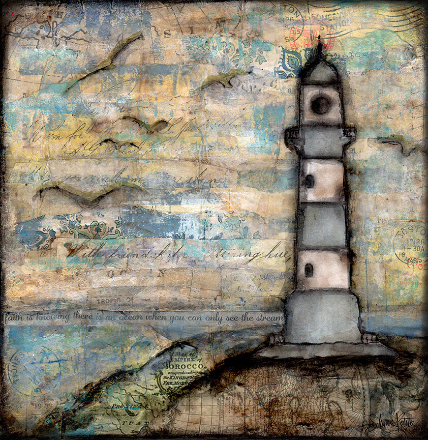 """""""The Stream"""" lighthouse Print on Wood 4x4 Overstock"""