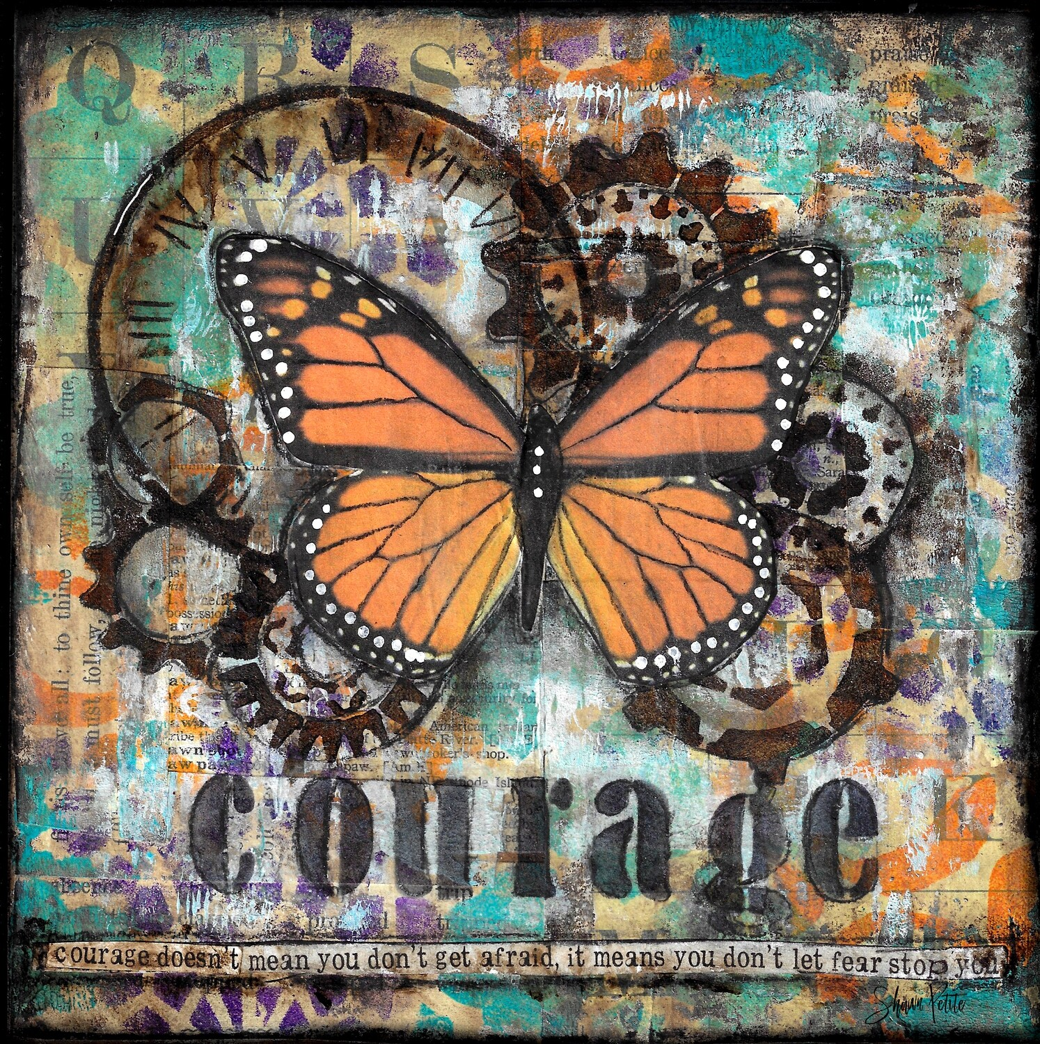 """Courage doesn't mean you don't get afraid, it means you don't let fear stop you"" Print on Wood 4x4 Overstock"