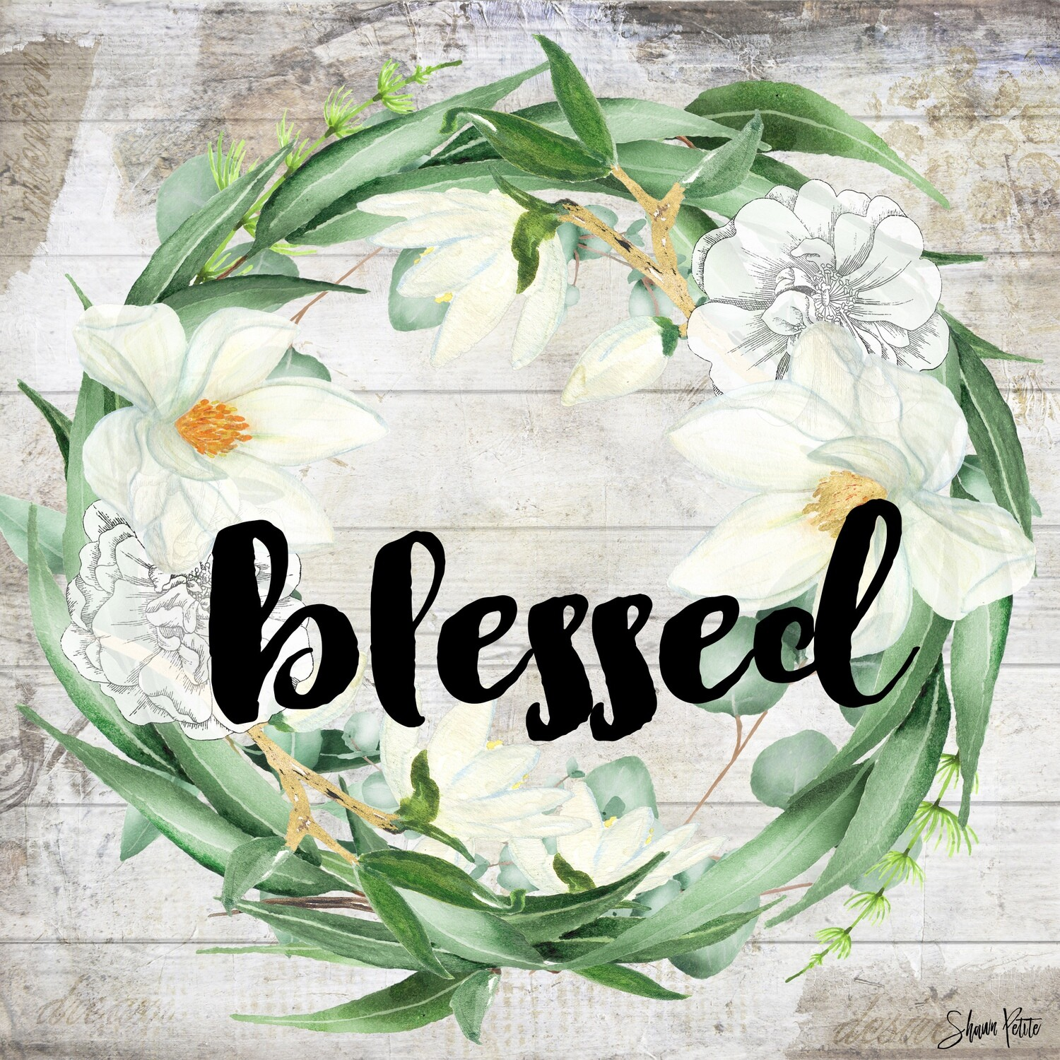"""""""Blessed"""" wreath Print on Wood 4x4 Overstock"""