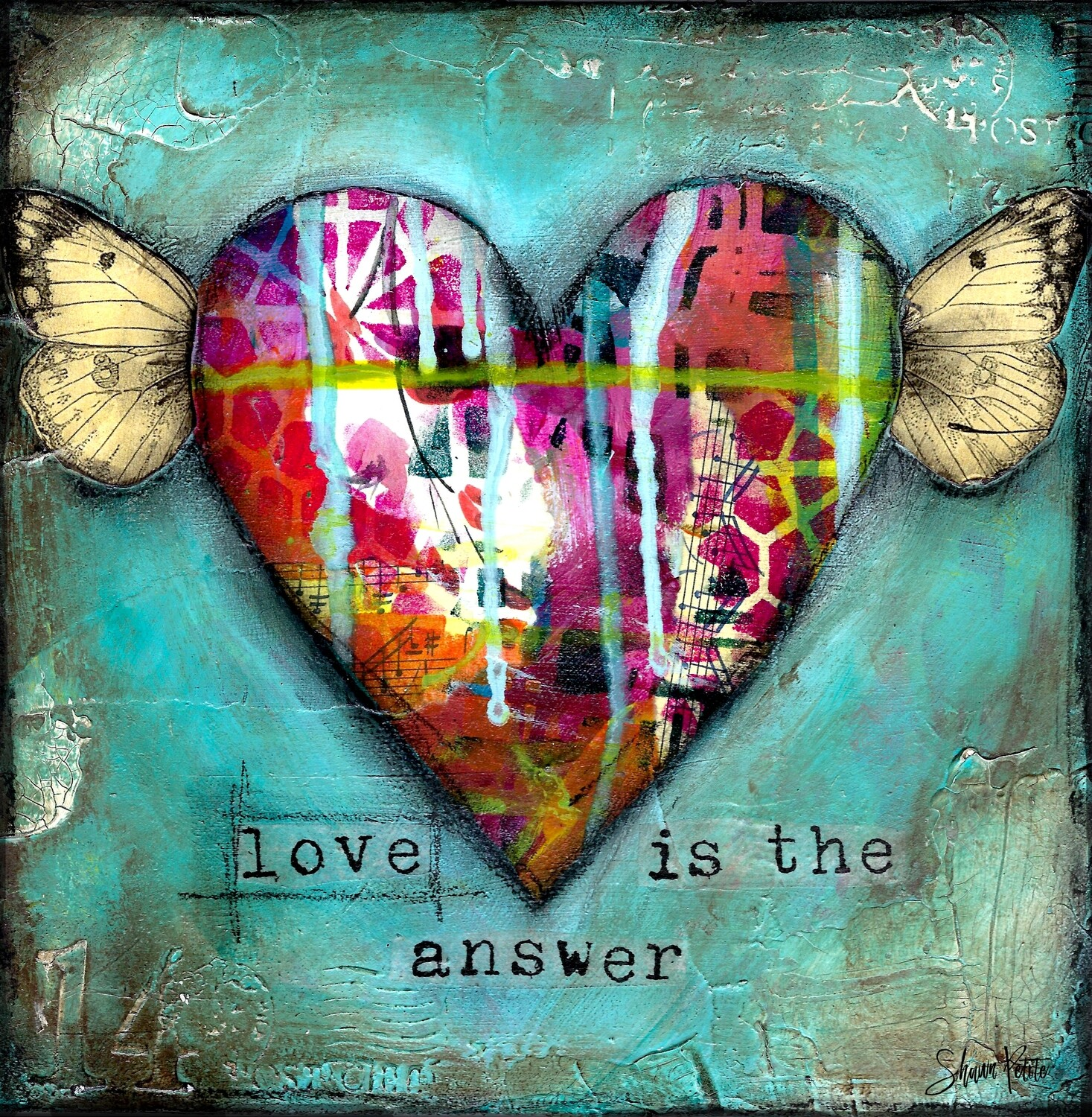 """Love is the Answer"" Print on Wood 4x4 Overstock"