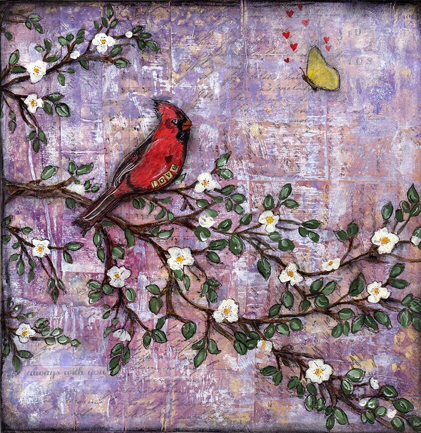 """Love"" cardinal purple Print on Wood 4x4 Overstock"