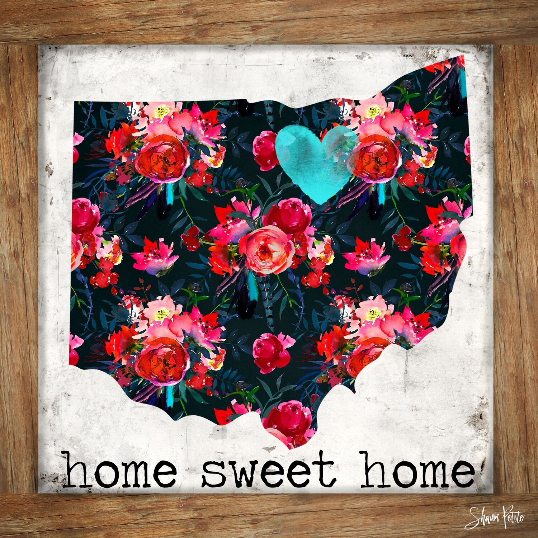 """Home sweet home Ohio"" Print on Wood 4x4 Overstock"