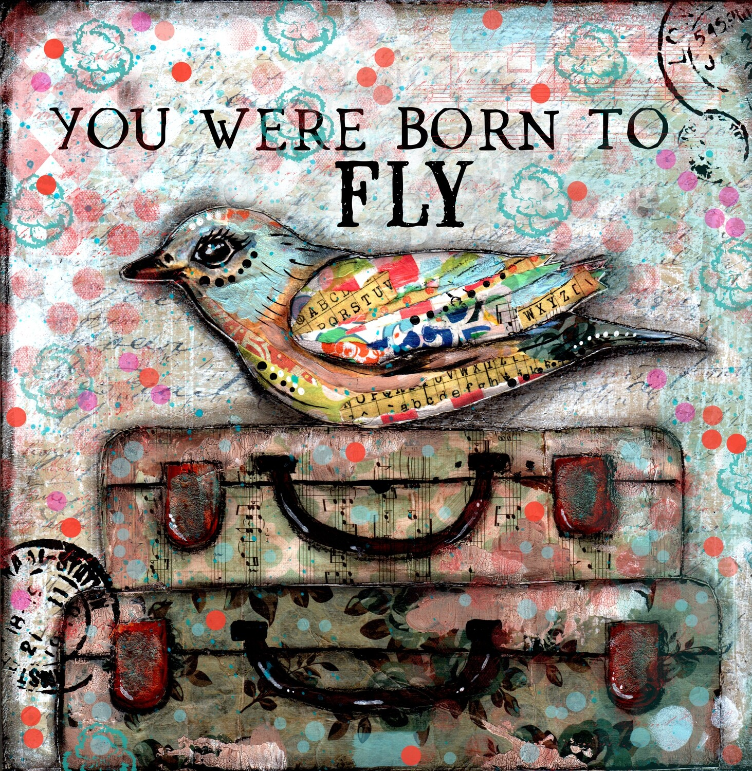 """You were born to Fly"" Print on Wood 4x4 Overstock"