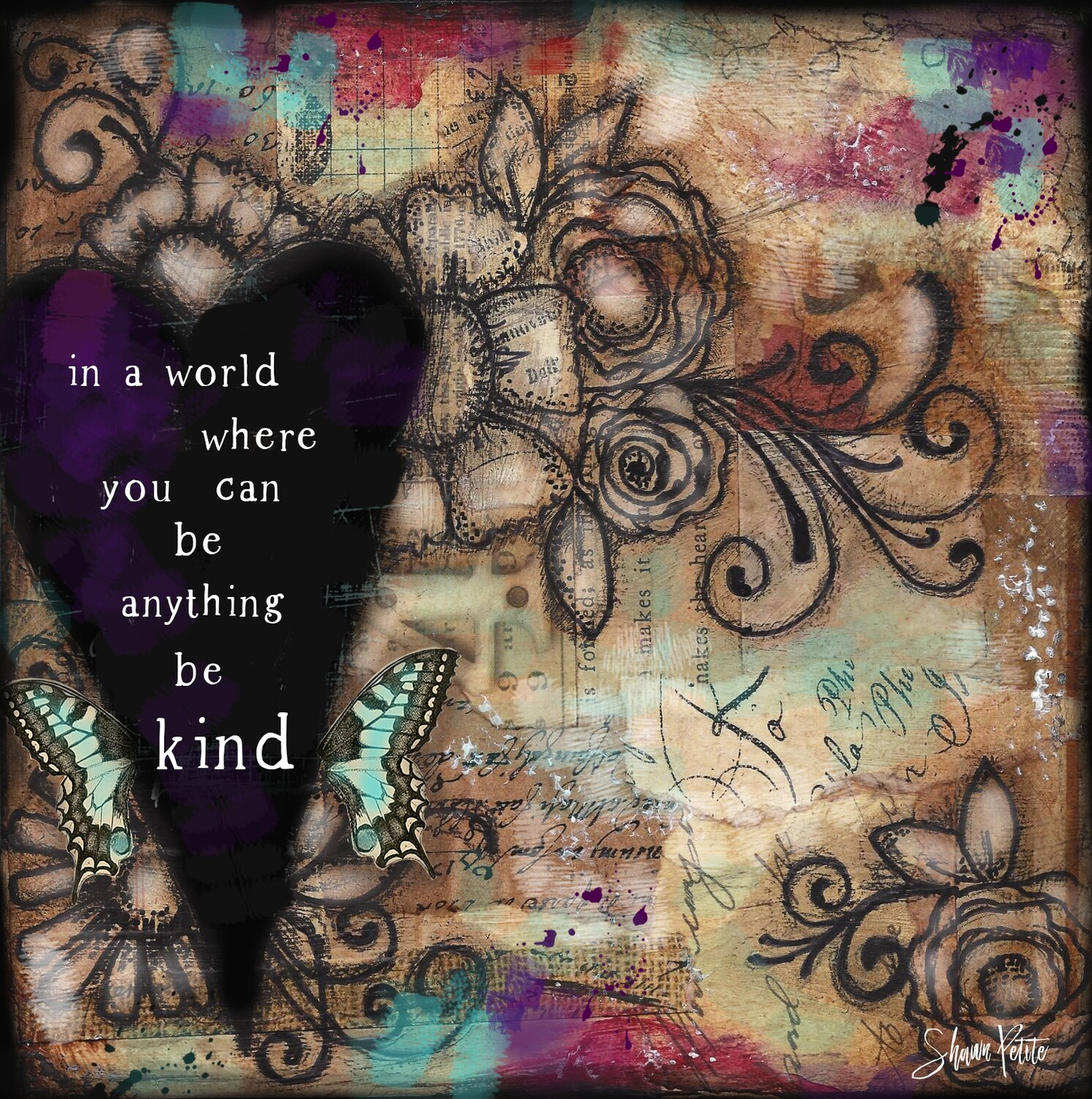 """""""In a world where you can be anything be Kind"""" Print on Wood 4x4 Overstock"""