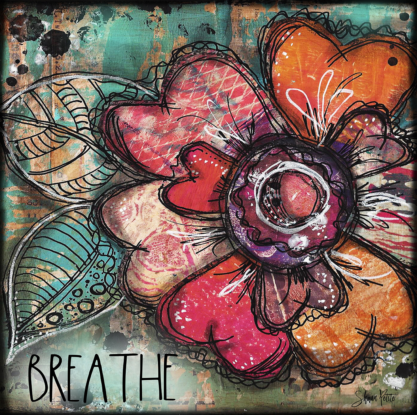 """Breathe"" flower Print on Wood 4x4 Overstock"