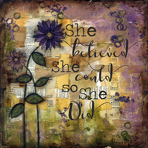 """""""She believed she could so she did"""" flower Print on Wood 4x4 Overstock"""