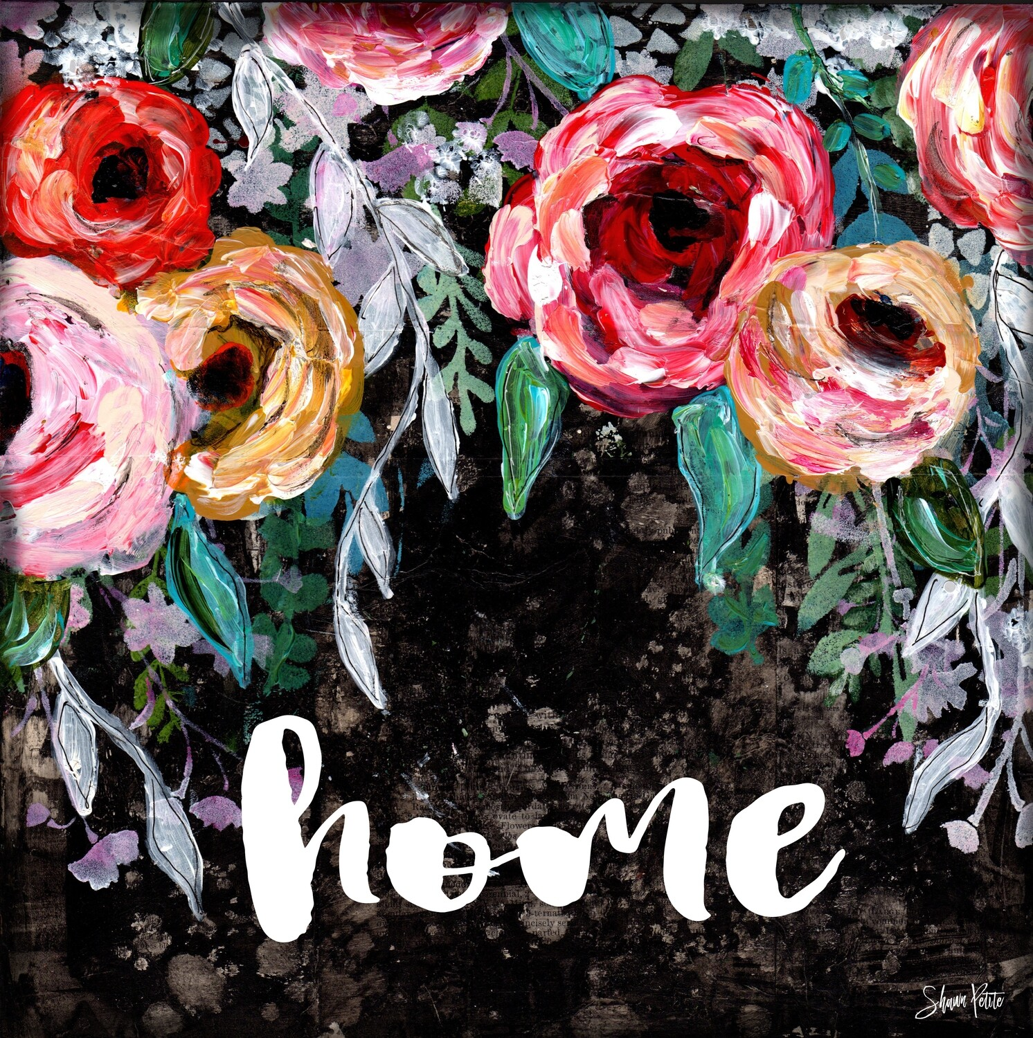 """Home"" black floral Print on Wood 4x4 Overstock"