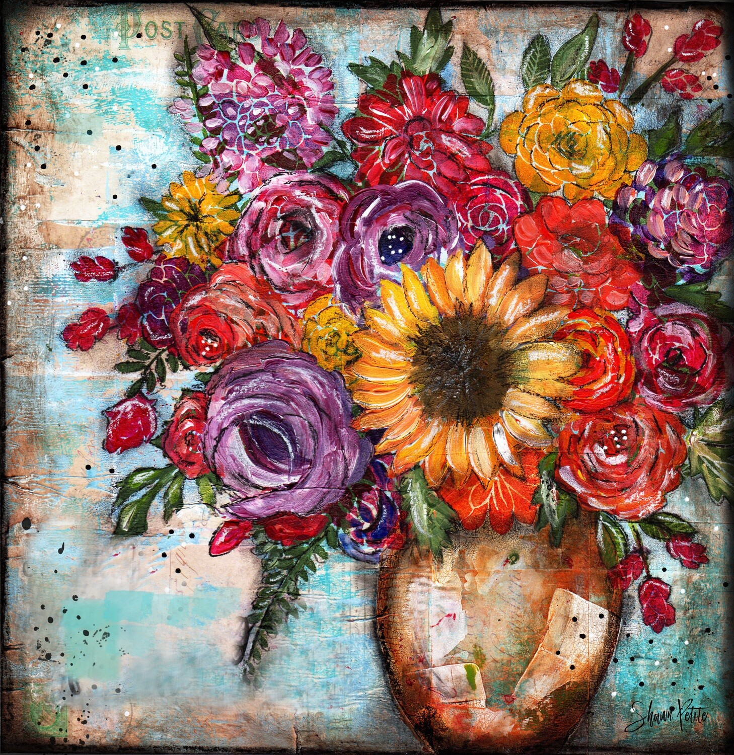 """""""Bright Sunflower"""" floral Print on Wood 8x8 Overstock"""