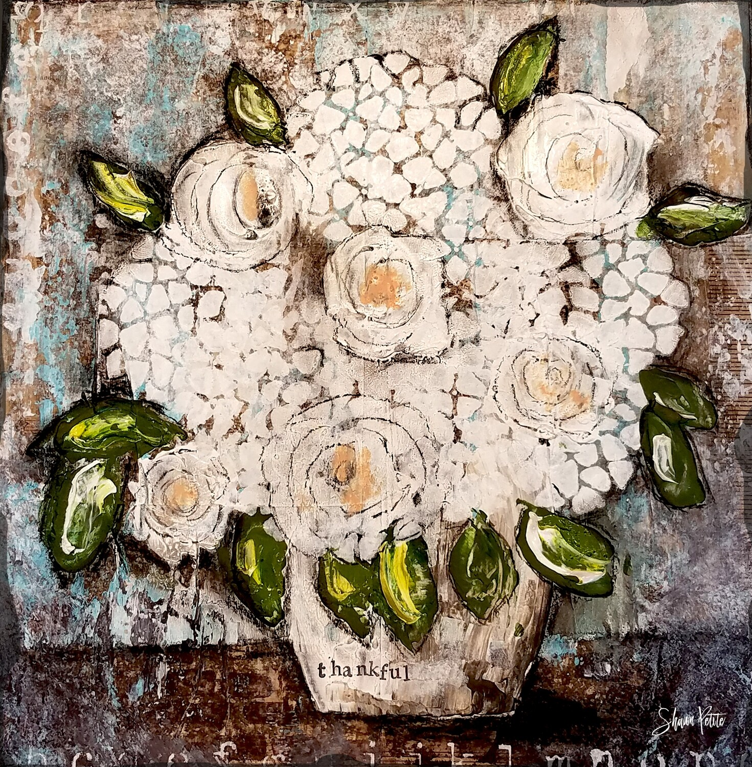 """""""Thankful"""" floral Print on Wood 8x8 Overstock"""