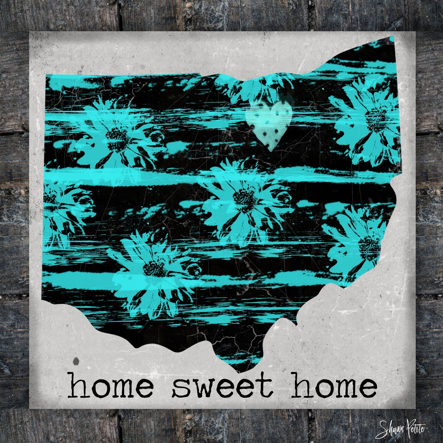 """Home Sweet Home"" Ohio teal Print on Wood 8x8 Overstock"