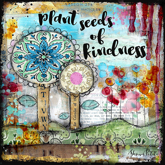 """Plant seeds of Kindness"" flowers Print on Wood 8x8 Overstock"
