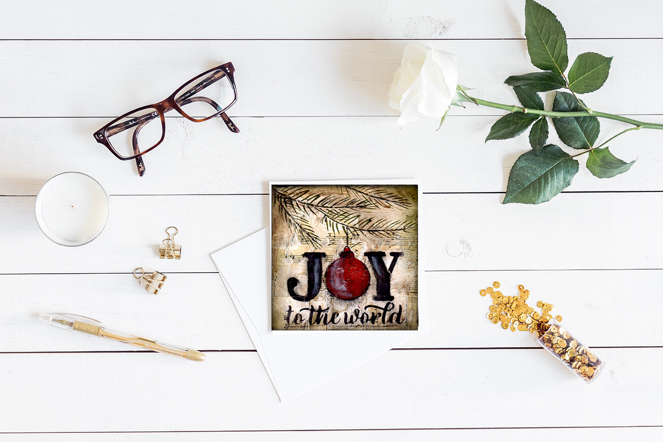 """Joy to the World"" single 5x5 card 4 pack"