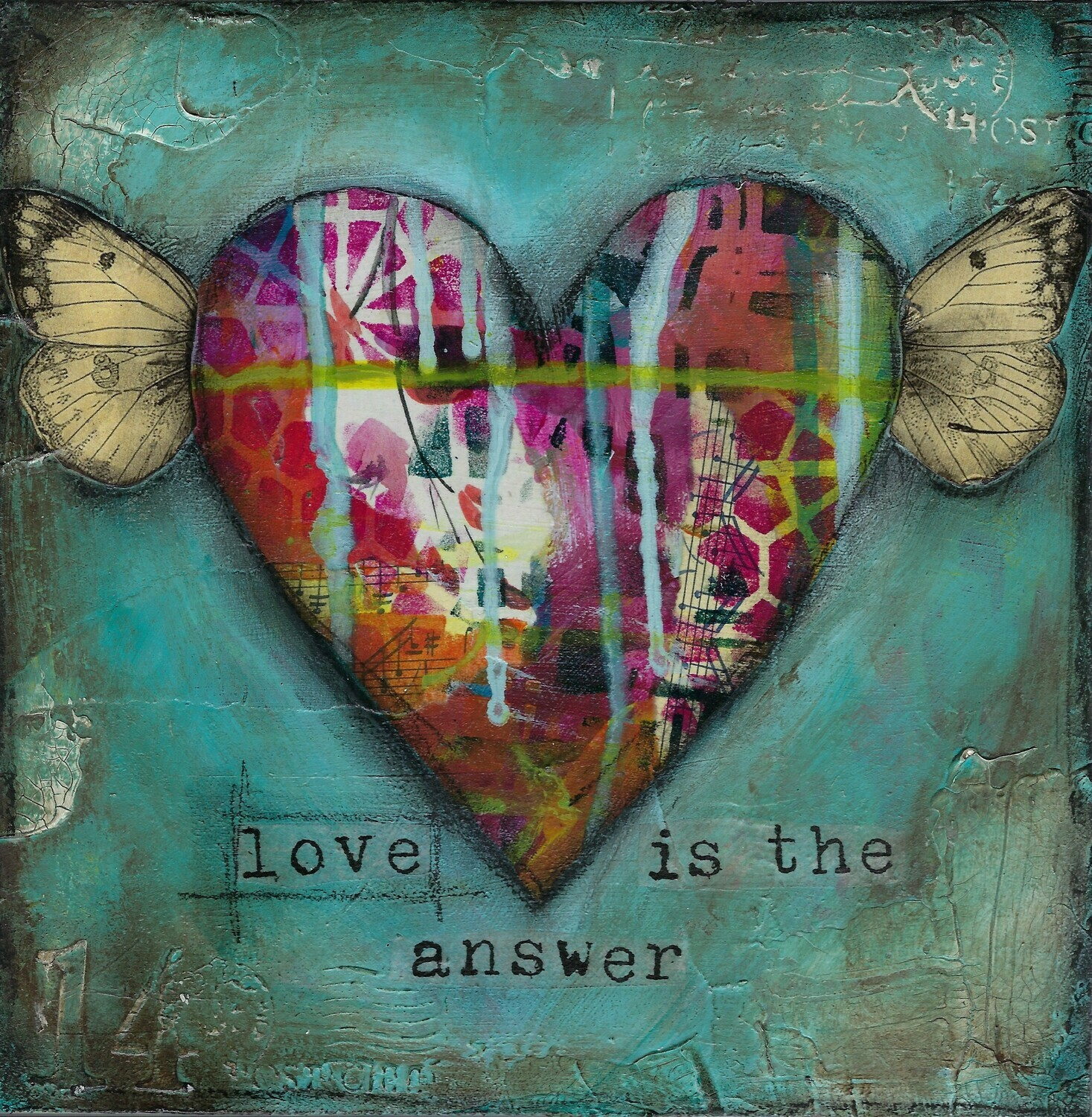 """Love is the Answer"" heart Print on Wood 8x8 Overstock"